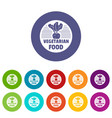 vegetarian food icons set color vector image