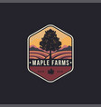 vintage hipster emblem maple tree and farms logo vector image vector image