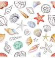 Watercolor seamless pattern with sea shells vector image vector image