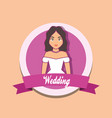 wedding card with married wife vector image