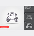 wedding carriage line icon brougham with editable vector image