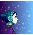 girl listening music in headphines vector image