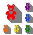 teddy bear sign set of red orange vector image