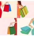 Shopping girl hand bag vector image