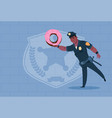 african american policeman hold donut wearing vector image vector image