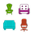 armchair icon set color outline style vector image