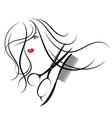 beautiful girl and scissors with a comb vector image vector image