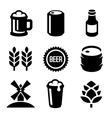 Beer Icons Set on White Background vector image vector image