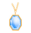 blue gemstone mockup realistic style vector image vector image