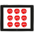 Business dashboard with a sale stickers in a pc vector image