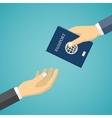 Businessman Receiving Passport vector image vector image