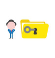 businessman unlock open file folder with key vector image
