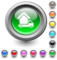 Camper round button vector image vector image