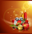 christmas greeting card gift boxes balls candles vector image vector image