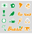 color brazil stickers and symbols set eps10 vector image