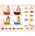 cute animals in boats kids design elements set vector image vector image
