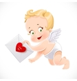 Cute little Cupid flies with a love letter vector image vector image