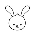 cute rabbit head cartoon icon thick line vector image