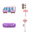 design of train and station logo set of vector image