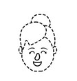dotted shape avatar woman head with hairstyle vector image vector image