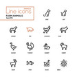 farm animals - line design icons set vector image vector image