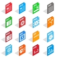 File Type Icons set isometric 3d style vector image vector image