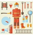 firefighter uniform and first help equipment and vector image vector image