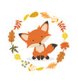 fox with leaves decoration circle design vector image vector image