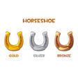 gold silver bronze horseshoe vector image vector image