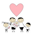 Happy parents with children newborn baby in hands vector image vector image