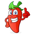 hot pepper cartoon character pointing vector image vector image