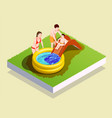 inflatable pool family composition vector image vector image