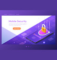 isometric web banner shield with lock and finger vector image