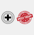 line medical cross icon and distress speech vector image vector image