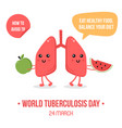 lungs characters holding fresh fruits vector image vector image