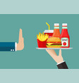 man refuse to has a fast food vector image