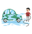 man washing car vector image