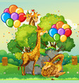 many giraffes in party theme in nature forest vector image vector image