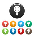 pushpin icons set color vector image vector image