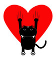 red heart cartoon black cat back view red bloody vector image