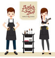 relaxing woman and man in barber shop vector image vector image