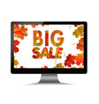 sales computer monitor with autumn leaves vector image vector image