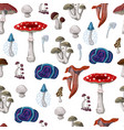 seamless pattern with different mushrooms vector image vector image