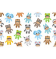 seamless pattern with kids in animals costumes vector image vector image