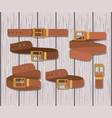 set belts masculine icons vector image