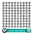 Set of 100 icons of health and medical with circle vector image vector image