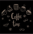 set of coffee cups coffee time text vector image vector image