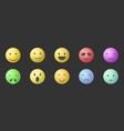 set of emoticons set of emoji smile vector image vector image