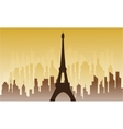 Silhouette of city and eiffel tower vector image vector image