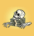 skeleton skull dollar money wealth and greed vector image vector image